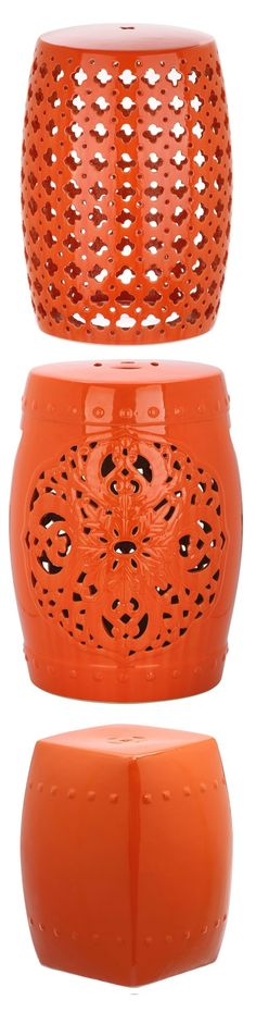 Marvelous Orange Garden Stool | Orange Ceramic Stools | Orange Porcelain Stool |  Orange Ceramic Stool |