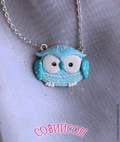 """Купить Кулон """"Небесная совушка"""" - голубой, сова, совушка, совенок, полимерная глина, пластика, украшение"""