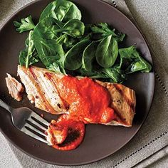 Salmon with Red Pepper Pesto: Fish is rich in protein and omega-3 fatty acids, so try these great recipes and eat up! | Health.com