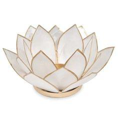 Lotus - Candeliere madreperlato bianco in metallo