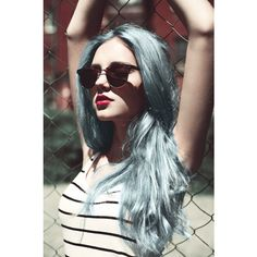 blue hair, colored hair, fashion, green hair ❤ liked on Polyvore featuring hair, pictures, blue hair, models and people