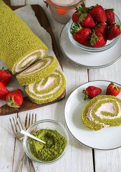 Matcha Green Tea Swiss Roll with Strawberry Mousse | The Little Epicurean -- Instead of these filling I can use: 1 cup heavy cream 1/3 cup caster sugar 4 tablespoons pureed strawberries 1/2 cup coarsely chopped strawberries