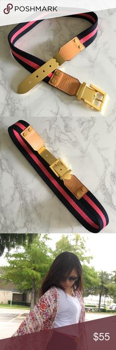 Tory Burch belt Pink and navy blue striped belt with gold hardware and leather  on both ends of the gold buckle. Perfect summer belt to spruce up your summee dresses and outfits! I cant find the tag size but I'd say it's a small and would fit waist 25-27. Worn only a handful of times. Still undecided on letting this go so the price is firm Tory Burch Accessories Belts