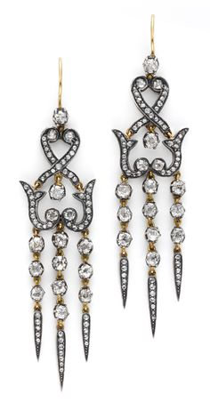 A Pair of Antique Diamond Ear Pendants, circa 1880. Available at FD.  www.fd-inspired.com