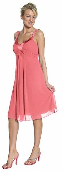 bridesmaid coral dress comes with shawl