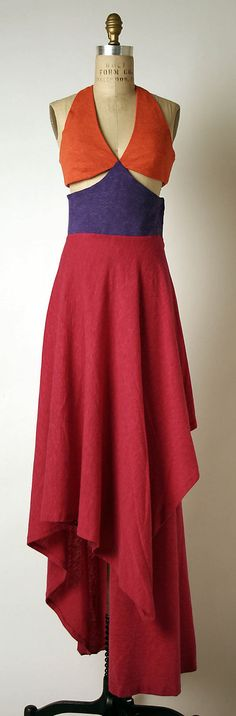 Orange/purple/red angora wool evening dress, by Madame Grès (Alix Barton), French, 1965. Worn with matching cape.