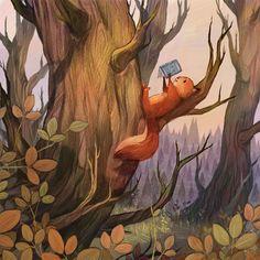 Official Website- Olivia Chin Mueller, Illustrator and Artist Art And Illustration, Illustration Mignonne, Squirrel Illustration, Illustration Children, Book Illustrations, 365 Kawaii, Art Fantaisiste, Illustrator, Art Mignon