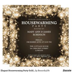 Shop Elegant Housewarming Party Gold Sparkling Lights Invitation created by Personalize it with photos & text or purchase as is! 60th Birthday Party Invitations, Dinner Party Invitations, Gold Invitations, Elegant Invitations, Invites, Christmas Invitations, Invitation Ideas, Invitation Design, Invitation Cards