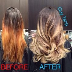 My before and after picture of my hair done by the fabulous Guy Tang