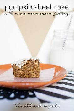 An easy crowd pleasing dessert: pumpkin spice sheet cake with maple cream cheese frosting. This fall dessert recipe is easy and delicious!
