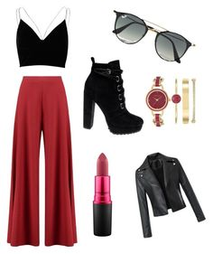 """Black and red"" by nahida03 on Polyvore featuring Boohoo, River Island, Ray-Ban, Daya, MAC Cosmetics and Anne Klein"