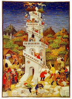 Bedford Book of Hours, 1423, Building the Tower of Babel´  Illustration to the Bedford Book of Hours   Add. MS 18850 folio 17v  British Library, London, England   1414–1423