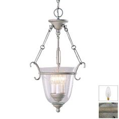 Inside??  Volume International 12-in W Platinum Rust Pendant Light with Clear Shade