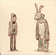 Donnie Darko by Scott Campbell Donnie Darko Rabbit, Badass Movie, Scott Campbell, Unicorn Art, Nerd, Horror Movies, Good Movies, Pop Culture, Illustration Art