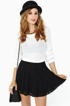 Laced Skater Skirt in Black