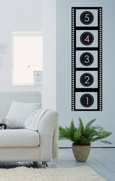 Could Paint on Canvas and give it a vintage look. :) movie reel wall art vinyl decal sticker by SweetWallIcing on Etsy, $30.00