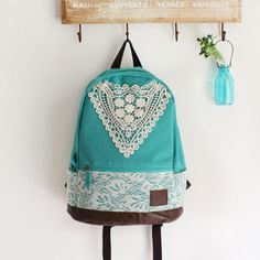 triangle lace canvas female fresh backpack-blue-EMS. omg so pretty