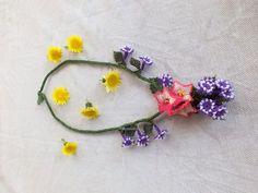Needle Lace Necklace, Crochet lace, Bohem Necklace, Turkish needle lace, Flower Crochet Lace, Needlework Necklace
