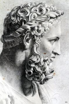 Head of Hercules. drawing from the antique. Artist unknown:
