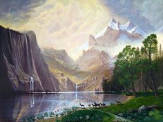 Albert Bierstadt Among the Sierra Nevada Mountains California art painting for sale; Shop your favorite Albert Bierstadt Among the Sierra Nevada Mountains California painting on canvas or frame at discount price. Sierra Nevada, Landscape Wallpapers, Landscape Art, Landscape Paintings, Oil Paintings, Fantasy Landscape, Sunrise Landscape, Landscapes, Watercolor Paintings