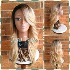 ON SALE Long CurlyWavy Lace Front Wig, Ombre Lavender Mermaid Wig, Dark Rooted Bombshell Wig GRACIOUS (Free Shipping)