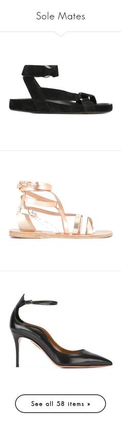 """Sole Mates"" by tessabit ❤ liked on Polyvore featuring shoes, sandals, black, leather strap sandals, flat sandals, flat leather sandals, leather sandals, strappy leather sandals, pink and flat footwear"