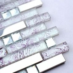 purple cyrstal glass mixed stainless steel mosaic tiles for dining ...
