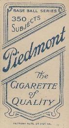 1909-11 The American Tobacco Company T206 White Border #40 Bob Bescher Back