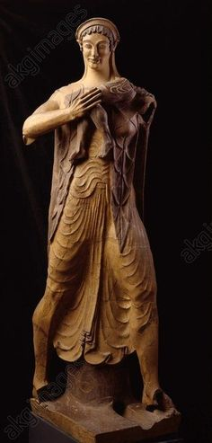 GODDESS WITH CHILD (LATONA),ETRUSCAN. Etruscan, Late-Archaic, 510–500 BCE. Goddess carrying a child (Latona with Apollo). From the roof ridge of the Portonaccio Temple at Veil. Terracotta> Yvonne Carroll / pinterest