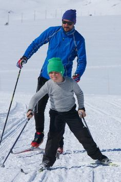 Prince Haakon and his son Prince Sverre Magnus of Norway skiing after the 50th Ridderrenn event on 13 April 2013 in Beitostoelen