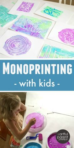 Monoprinting with Kids the Easy Way. Gorgeous art project.