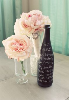 Set of 15 chalkboard vases WEDDING centerpiece wine bottle BLACK seating chart table number