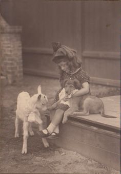 Great vintage photo of a little girl with her two best friends, a baby goat and new puppy. Vintage Dog, Vintage Children, Vintage Pictures, Old Pictures, Vintage Photographs, Antique Photos, Photos With Dog, Dog Photography, Landscape Photography