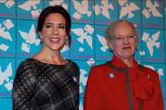 Queen Margrethe and Crown Princess Mary attended the presentation of the Christmas Seal for 2015 at the City Hall of Copenhagen, Denmark on October 28, 2015.