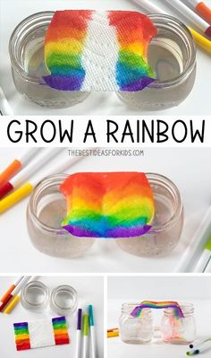 Grow a Rainbow Experiment - such a fun and easy science experiment for kids! This Grow a Rainbow Experiment is really easy and fun to do! You only need paper towel, water and washable markers. See how to Science Projects For Kids, Easy Science Experiments, Science For Kids, Kindergarten Science Experiments, Science Daily, Fun Art Projects, Science Experiments For Toddlers, Scientific Method Experiments, Science Experiments For Preschoolers