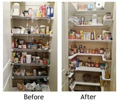 Kitchen Pantry Makeover, Replace wire shelves with wrap around wood shelving for under $130 DIY | Lucy Designs