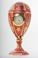 Red egg with clock trinket box