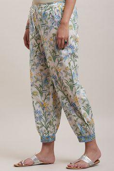 Designer Wear: Shop Designer Ethnic Wear by Farida Gupta Salwar Pants, Kurta With Pants, Simple Kurti Designs, Salwar Designs, Pakistani Fashion Party Wear, Dress Over Pants, Sleeves Designs For Dresses, Ethnic Wear Designer, Floral Pants