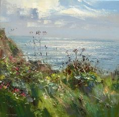 Wild Roses and Seedheads, Porthgwarra, Cornwall by British Contemporary Artist Rex PRESTON #LandscapePaintings
