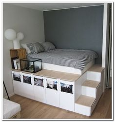 Platform Storage Bed storage Ikea 8 DIY Storage Beds to Add Extra Space and Organization to Your Home Platform Bed With Storage, Diy Platform Bed, Platform Bedroom, Ikea Platform Bed Hack, Raised Platform Bed, Bed Base With Storage, Diy Storage Bed, Storage Hacks, Storage Solutions