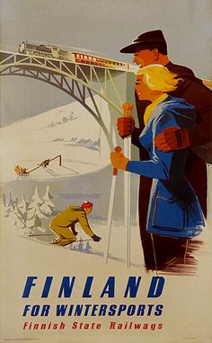 1952 Finland for wintersports vintage travel sport poster