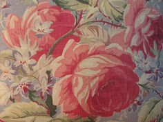 Pillow French Pink Roses Barkcloth Red by VintageFrenchRoses *SOLD*