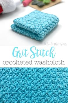 [sc Crochet a washcloth using the grit stitch. A stitch made with a combination of single and double crochet stitches that creates a nice dense texture. Crochet Kitchen, Crochet Home, Crochet Gifts, Crochet Ideas, Crochet Projects, Free Crochet, Knit Crochet, Crochet Stitches Patterns, Stitch Patterns