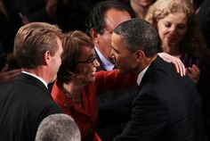 President Obama gives Gabby Giffords a big hug before the State of the Union