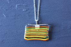 Beautifull Striped Glass Fused Pendant by GlassJewelleryByJ