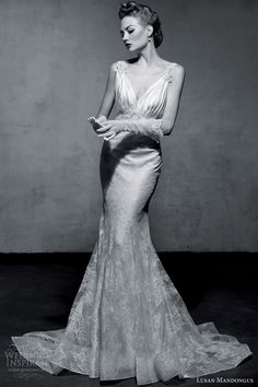 lusan mandongus bridal 2013 vintage glamour wedding dress