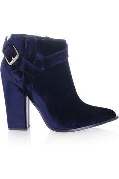 thakoon velvet ankle boots; the velvet is okay. I like pleather material better. :)