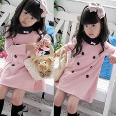Girl Kid Princess Double-breasted Dress Clothes Bowknot Long Sleeve Skirt Party
