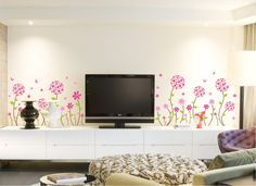 Pink Flower Wall Decal  Pink Flower sticker  Pink by HomeFreeStyle, $12.91