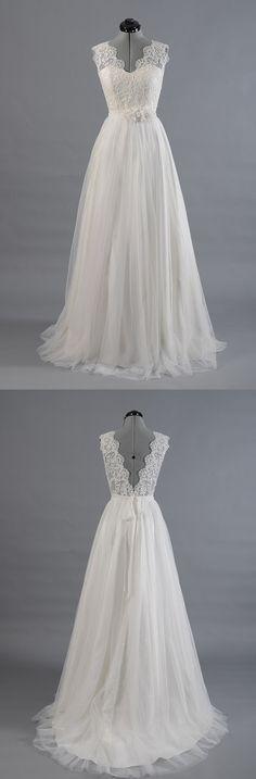 Princess A Line V Neck Empire Waist White Lace Wedding Dresses,Custom